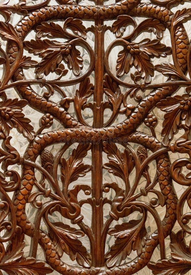 Λεπτομέρειες μιας λεπτής ξύλινης τέχνης χάραξης Μια ισλαμικές τέχνη και μια τέχνη στοκ φωτογραφία με δικαίωμα ελεύθερης χρήσης