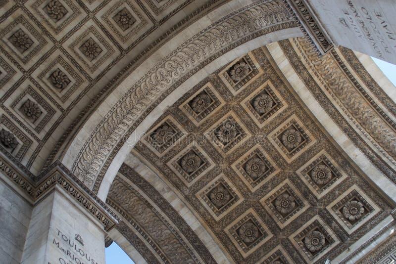 Λεπτομέρειες της στέγης Arc de Triomphe, Παρίσι, Γαλλία στοκ εικόνες