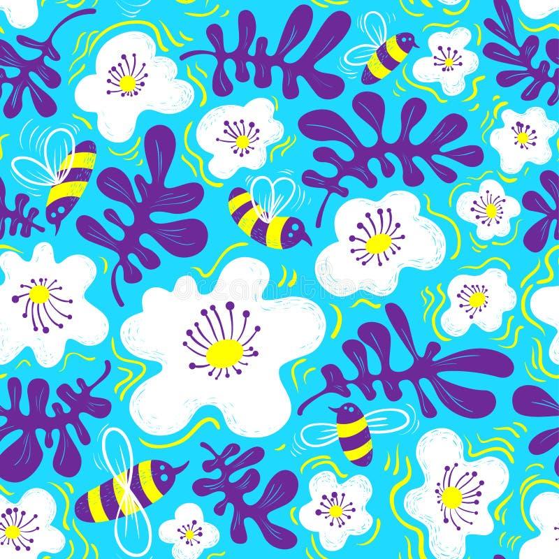 λεπτομερές ανασκόπηση floral διάνυσμα σχεδίων Άνευ ραφής σχέδιο με τη μέλισσα και λουλούδι στο doodl απεικόνιση αποθεμάτων