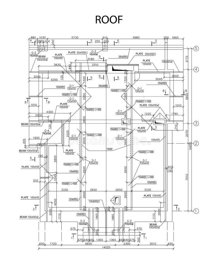 Λεπτομερές αρχιτεκτονικό σχέδιο των ακτίνων στεγών και των πιάτων, διάνυσμα διανυσματική απεικόνιση