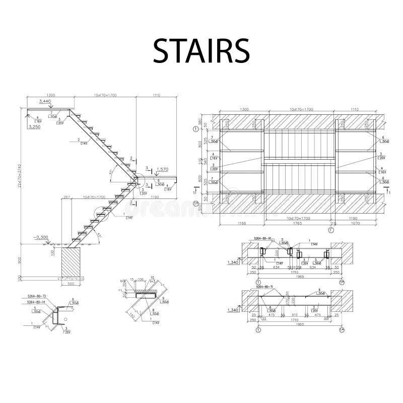 Λεπτομερές αρχιτεκτονικό σχέδιο των σκαλοπατιών, διάνυσμα Οικοδομικής Βιομηχανίας απεικόνιση αποθεμάτων