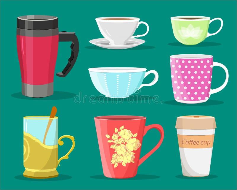 Λεπτομερές γραφικό σύνολο ζωηρόχρωμων φλυτζανιών για τον καφέ και το τσάι, γυαλιού με το κουτάλι και φλυτζανιού καφέ εγγράφου Επί διανυσματική απεικόνιση