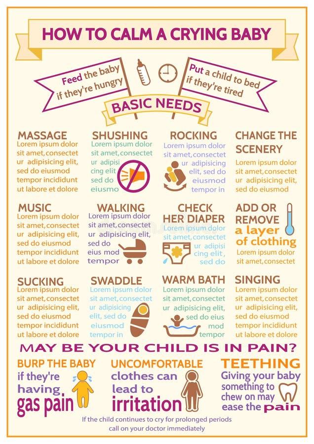 Λεπτομερές διανυσματικό παιδί μωρών infographic Πρότυπο παρουσίασης πώς να ηρεμήσει ένα φωνάζοντας μωρό ελεύθερη απεικόνιση δικαιώματος