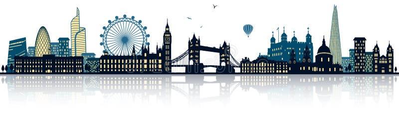 Λεπτομερές το Λονδίνο διάνυσμα οριζόντων διανυσματική απεικόνιση