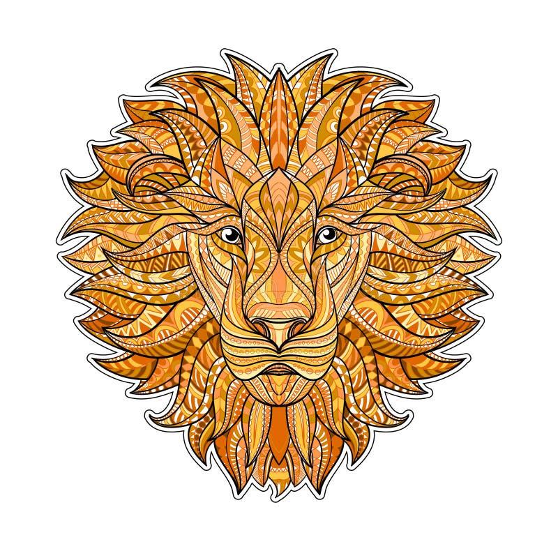Λεπτομερές χρωματισμένο λιοντάρι στο των Αζτέκων ύφος Διαμορφωμένο κεφάλι του επάνω υποβάθρου Αφρικανικό ινδικό σχέδιο δερματοστι διανυσματική απεικόνιση