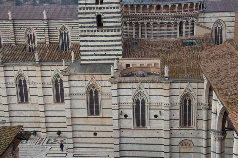 Λεπτομερής άποψη του Di Σιένα Duomo Άποψη από το facciatone Τοσκάνη Ιταλία στοκ εικόνα