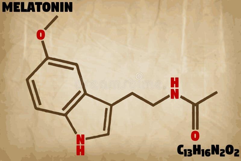 Λεπτομερής απεικόνιση του μορίου Melatonin ελεύθερη απεικόνιση δικαιώματος