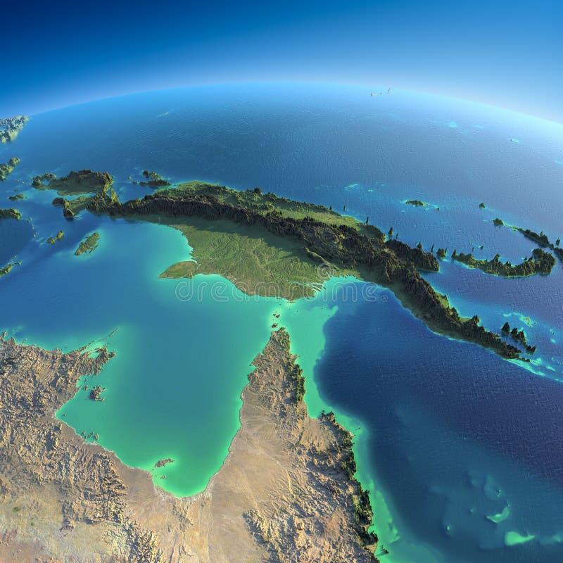 Λεπτομερής γη. Αυστραλία και Παπούα Νέα Γουϊνέα ελεύθερη απεικόνιση δικαιώματος