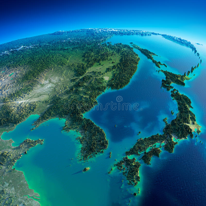 Λεπτομερής γη. Κορέα και Ιαπωνία ελεύθερη απεικόνιση δικαιώματος