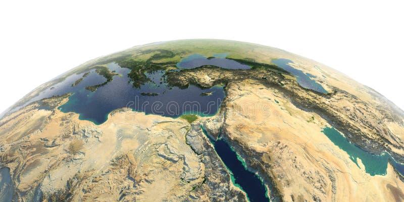 Λεπτομερής γη στο άσπρο υπόβαθρο Αφρική και Μέση Ανατολή ελεύθερη απεικόνιση δικαιώματος