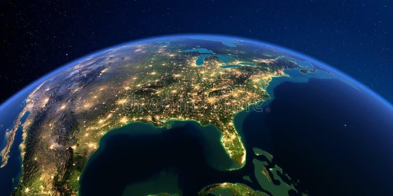 Λεπτομερής γη τη νύχτα Βόρεια Αμερική o Κόλπος του Μεξικού και της Φλώριδας απεικόνιση αποθεμάτων