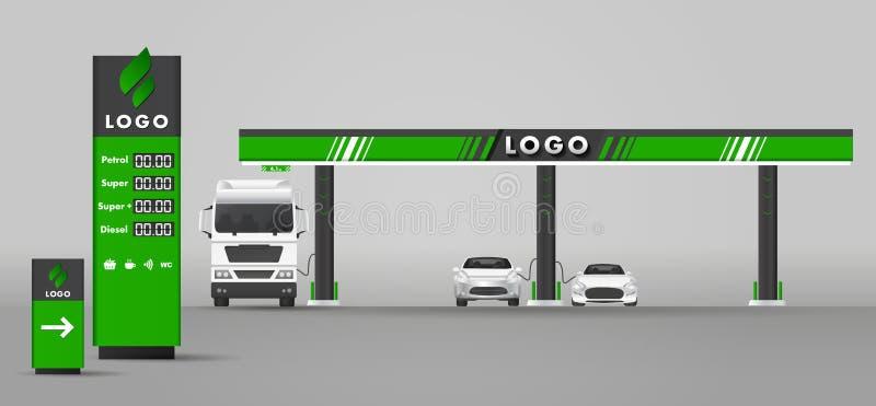 Λεπτομερής διανυσματική σύγχρονη επίπεδη απεικόνιση σχεδίου του αερίου ή πρατήριο καυσίμων βενζίνης με το οδικό σημάδι και τις τι ελεύθερη απεικόνιση δικαιώματος