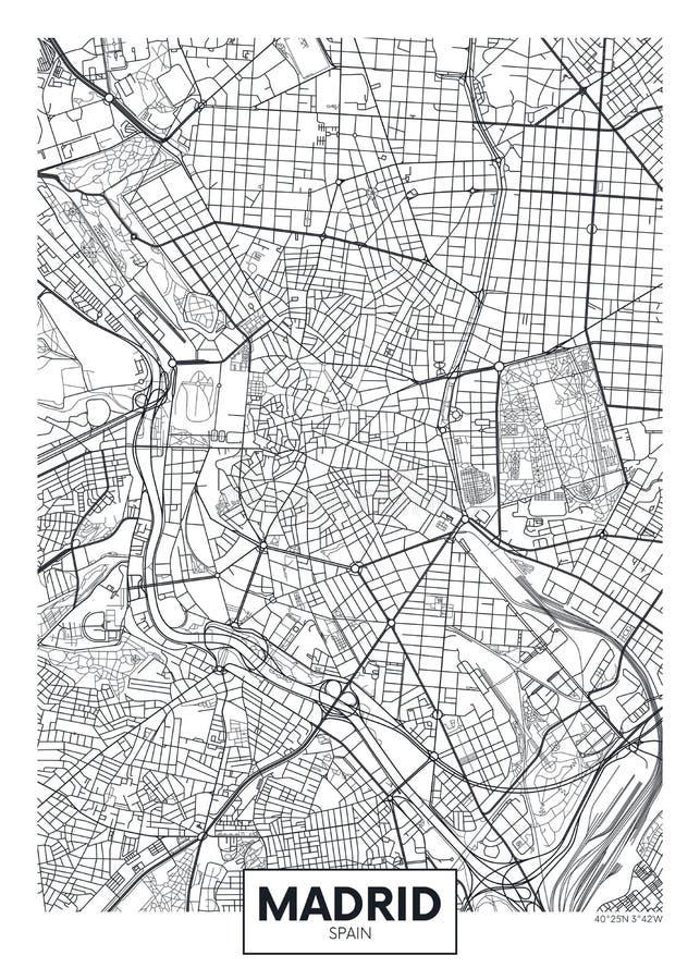 Λεπτομερής διανυσματικός χάρτης Μαδρίτη πόλεων αφισών ελεύθερη απεικόνιση δικαιώματος