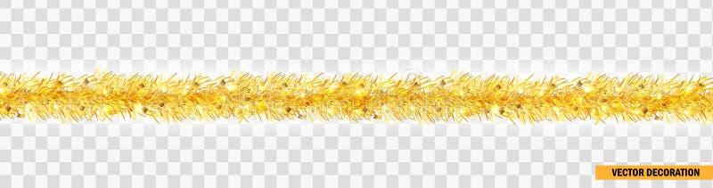 Λεπτομερής ευρεία χρυσή γιρλάντα Χριστουγέννων Tinsel Χριστουγέννων σύνορα Διανυσματική διακόσμηση για το σχέδιο διακοπών, ιστοχώ απεικόνιση αποθεμάτων