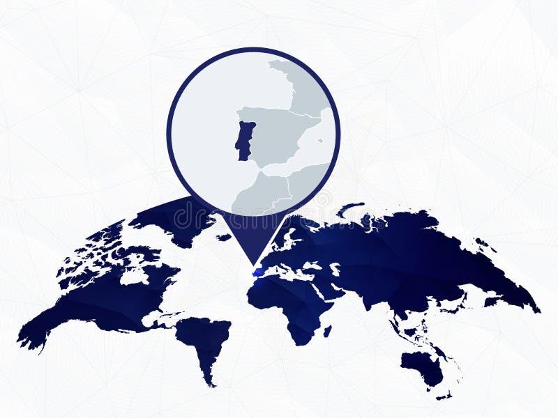 Λεπτομερής η Πορτογαλία χάρτης που τονίζεται στον μπλε στρογγυλευμένο παγκόσμιο χάρτη διανυσματική απεικόνιση