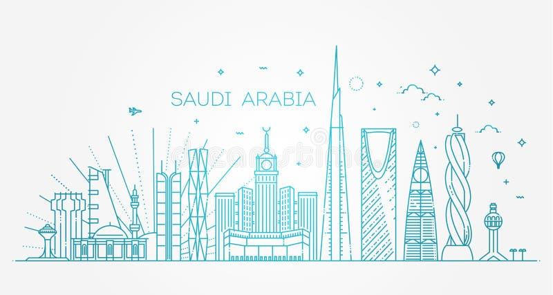 Λεπτομερής η Σαουδική Αραβία ορίζοντας Υπόβαθρο ταξιδιού και τουρισμού διανυσματική απεικόνιση