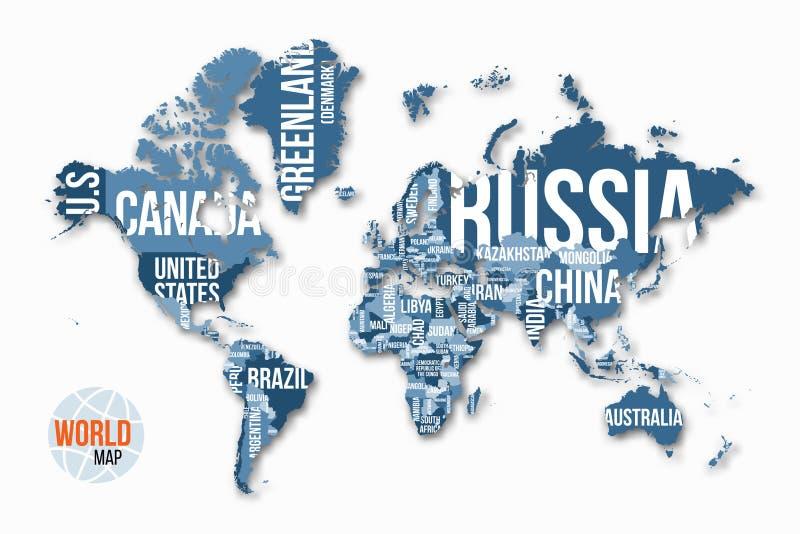 Λεπτομερής διάνυσμα παγκόσμιος χάρτης με τα σύνορα και τα ονόματα χωρών ελεύθερη απεικόνιση δικαιώματος