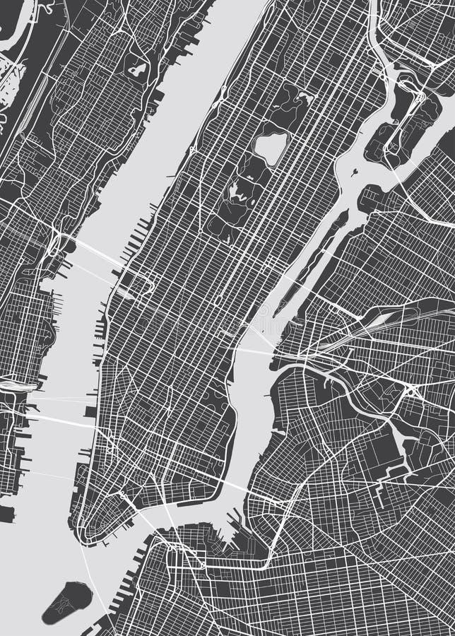 Λεπτομερής διάνυσμα χάρτης Νέα Υόρκη ελεύθερη απεικόνιση δικαιώματος