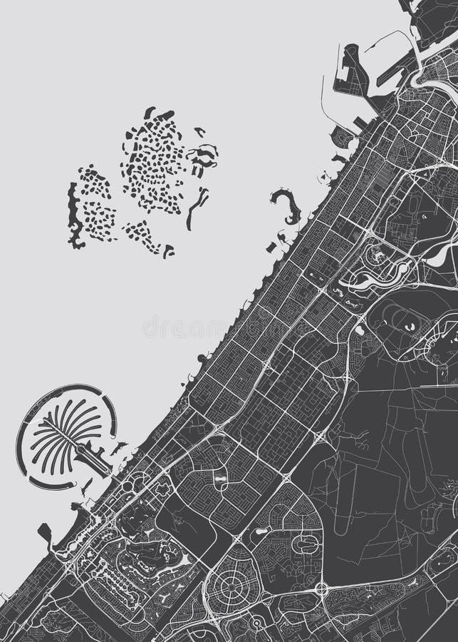 Λεπτομερής διάνυσμα χάρτης Ντουμπάι διανυσματική απεικόνιση
