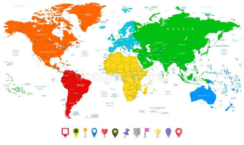Λεπτομερής διανυσματικός παγκόσμιος χάρτης με τις ζωηρόχρωμες ηπείρους και επίπεδος χάρτης απεικόνιση αποθεμάτων