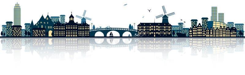 Λεπτομερής οι Κάτω Χώρες διανυσματικός ορίζοντας του Άμστερνταμ ελεύθερη απεικόνιση δικαιώματος