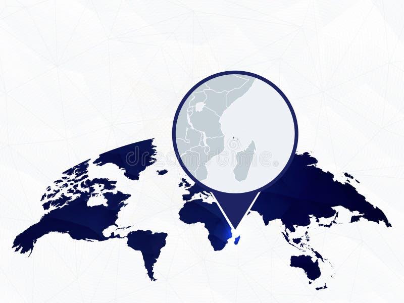 Λεπτομερής οι Κομόρες χάρτης που τονίζεται στον μπλε στρογγυλευμένο παγκόσμιο χάρτη διανυσματική απεικόνιση