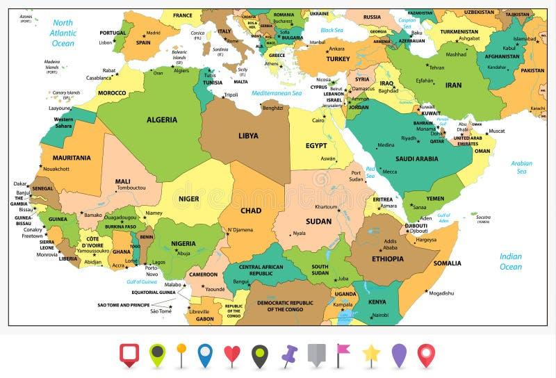 Λεπτομερής πολιτικός χάρτης της βόρειας Αφρικής και της Μέσης Ανατολής διανυσματική απεικόνιση