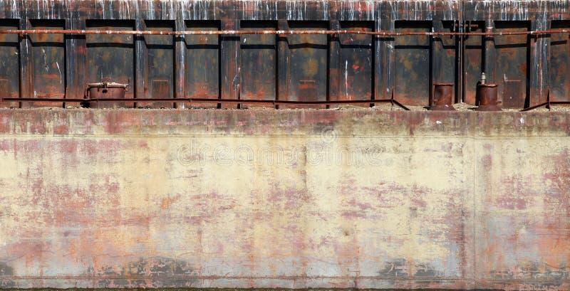 Λεπτομερής σύσταση φωτογραφιών φλουδών φορτηγίδων κινηματογραφήσεων σε πρώτο πλάνο παλαιά οξυδωμένη στοκ εικόνες