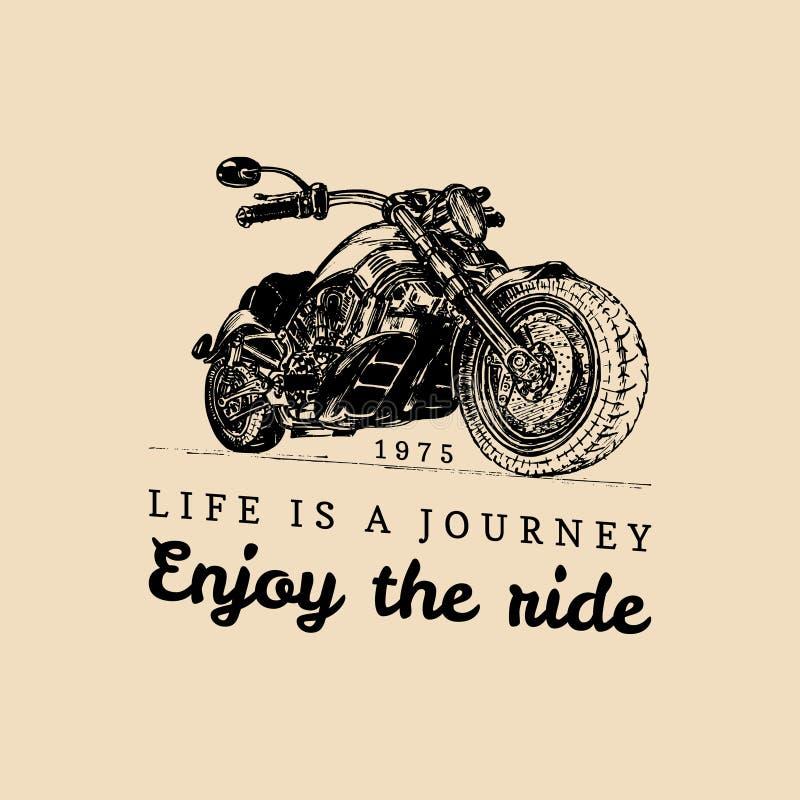 Λεπτομερής τρύγος απεικόνιση μοτοσικλετών συνήθειας Η ζωή είναι ένα ταξίδι, απολαμβάνει την αφίσα γύρου Διανυσματικός συρμένος χέ απεικόνιση αποθεμάτων