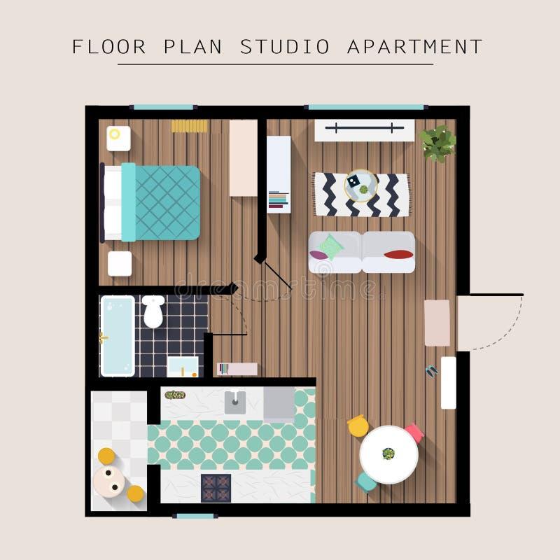 Λεπτομερής υπερυψωμένη τοπ άποψη επίπλων διαμερισμάτων Διαμέρισμα στούντιο διανυσματική απεικόνιση