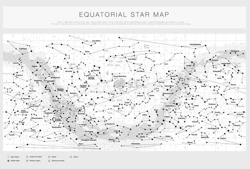 Λεπτομερής χάρτης αστεριών με τα ονόματα των αστεριών, των contellations και των πιό ακατάστατων αντικειμένων, γραπτό διάνυσμα απεικόνιση αποθεμάτων