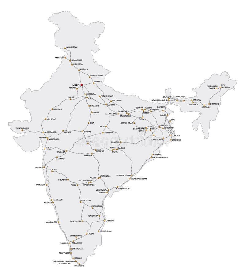 Λεπτομερής χάρτης σιδηροδρόμων των κύριων διαδρομών της Ινδίας διανυσματική απεικόνιση