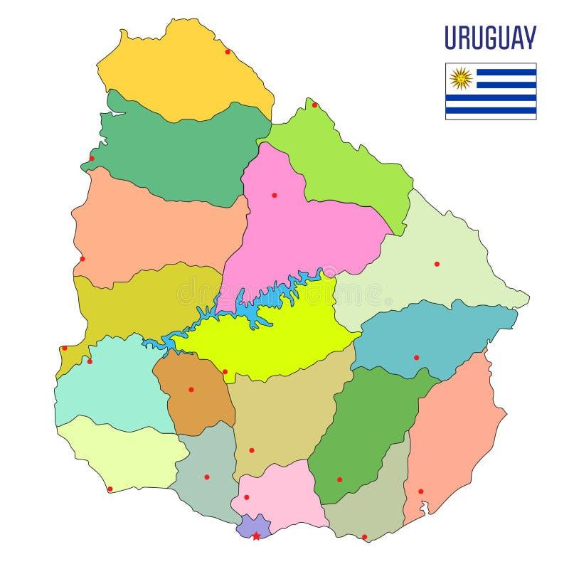 Λεπτομερής χάρτης της Ουρουγουάης με τις περιοχές απεικόνιση αποθεμάτων