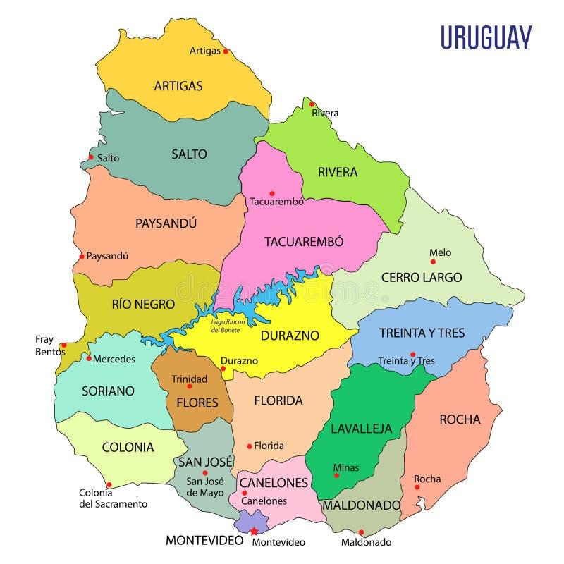 Λεπτομερής χάρτης της Ουρουγουάης με τις περιοχές διανυσματική απεικόνιση