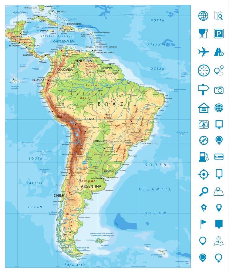 Λεπτομερή εικονίδια χαρτών και ναυσιπλοΐας της Νότιας Αμερικής φυσικά ελεύθερη απεικόνιση δικαιώματος