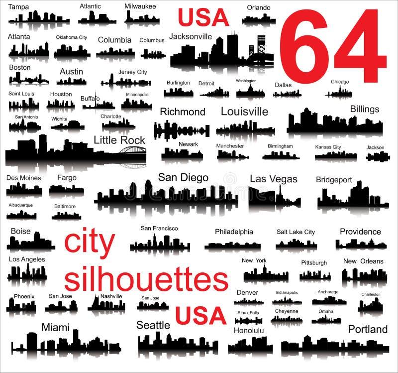 Λεπτομερείς διανυσματικές σκιαγραφίες των ΑΜΕΡΙΚΑΝΙΚΩΝ πόλεων διανυσματική απεικόνιση
