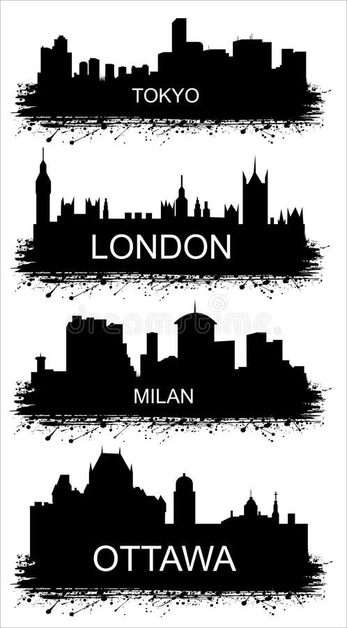 Λεπτομερείς σκιαγραφίες των παγκόσμιων πόλεων. ΜΙΛΑΝΟ, ΤΟΚΙΟ, ΟΤΤΑΒΑ, ΛΟΝΔΙΝΟ διανυσματική απεικόνιση