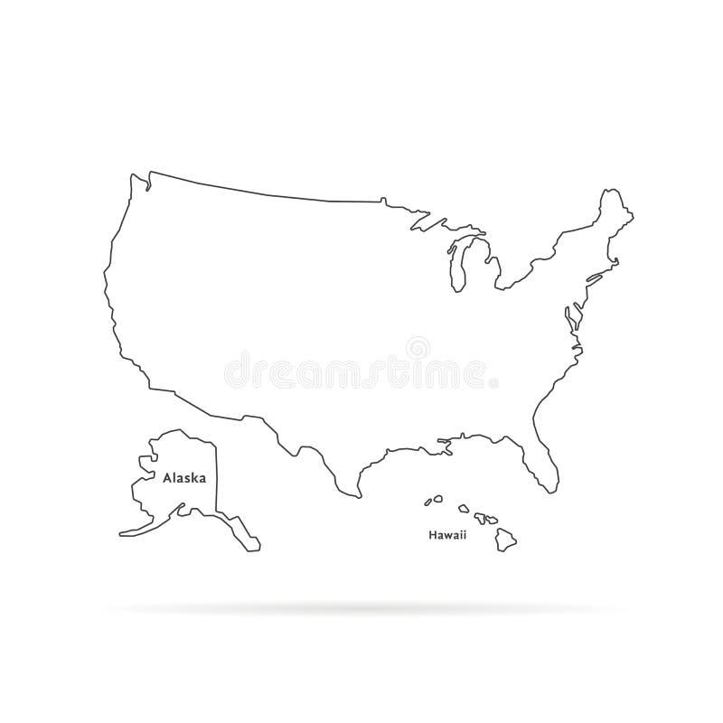 Λεπτός αμερικανικός χάρτης γραμμών με άλλες εδάφη και σκιά ελεύθερη απεικόνιση δικαιώματος