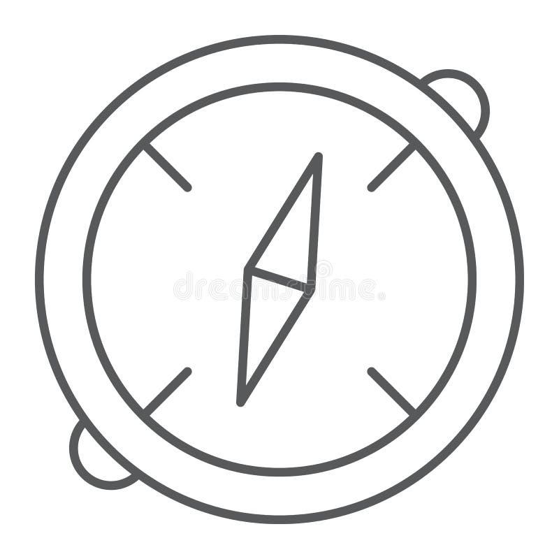 Λεπτός εικονίδιο γραμμών πυξίδων, προορισμός και εξοπλισμός, σημάδι ναυσιπλοΐας, διανυσματική γραφική παράσταση, ένα γραμμικό σχέ ελεύθερη απεικόνιση δικαιώματος
