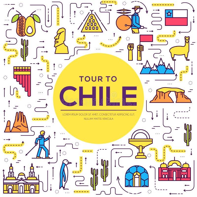 Λεπτός οδηγός γραμμών της Χιλής χώρας των αγαθών, των θέσεων και των χαρακτηριστικών γνωρισμάτων Σύνολο αρχιτεκτονικής περιλήψεων διανυσματική απεικόνιση