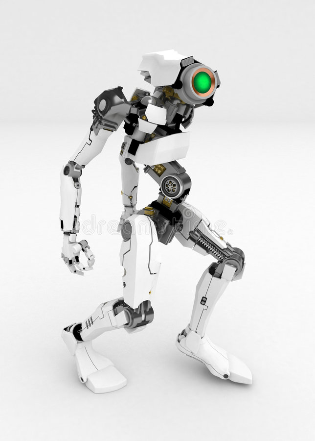 λεπτός ρομπότ που γέρνουν ελεύθερη απεικόνιση δικαιώματος