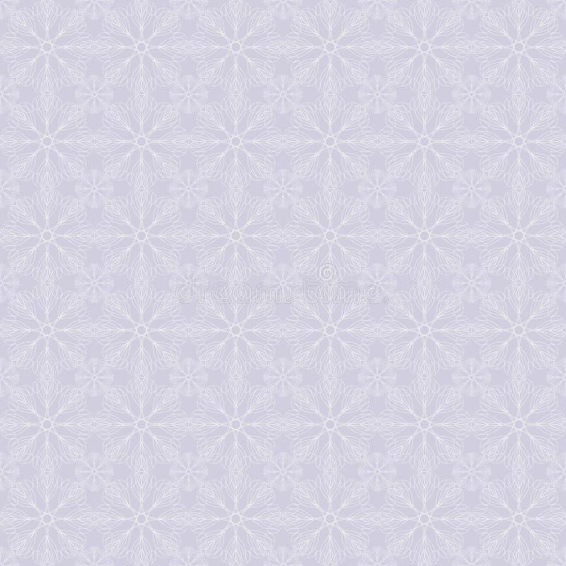 Λεπτό άνευ ραφής σχέδιο Διανυσματική ανασκόπηση Τυποποιημένα άσπρα λουλούδια ελεύθερη απεικόνιση δικαιώματος