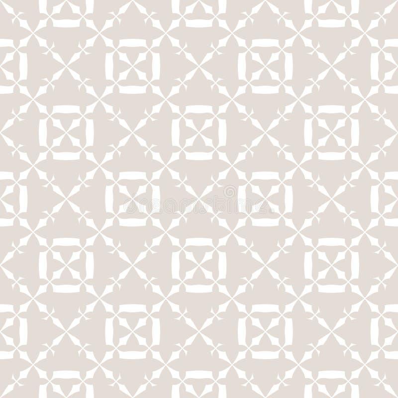 Λεπτό άσπρο και μπεζ αφηρημένο γεωμετρικό άνευ ραφής σχέδιο με το floral πλέγμα ελεύθερη απεικόνιση δικαιώματος