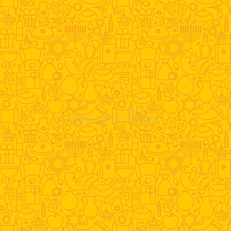 Λεπτό γραμμών εβραϊκό άνευ ραφής κίτρινο σχέδιο Hanukkah διακοπών ευτυχές απεικόνιση αποθεμάτων