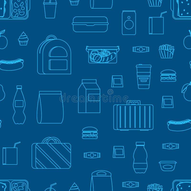 Λεπτό γραμμών χρώματος σχολικού μεσημεριανού γεύματος τροφίμων υπόβαθρο σχεδίων κιβωτίων άνευ ραφής r ελεύθερη απεικόνιση δικαιώματος