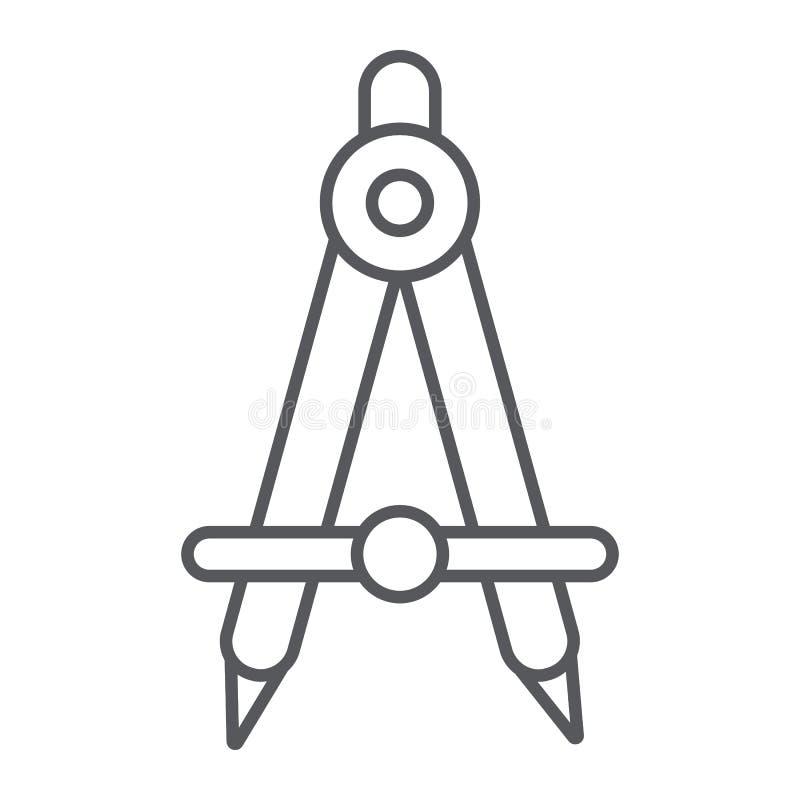 Λεπτό εικονίδιο, αρχιτέκτονας και σύνταξη γραμμών σχολικών πυξίδων, σημάδι εξοπλισμού εφαρμοσμένης μηχανικής, διανυσματική γραφικ διανυσματική απεικόνιση