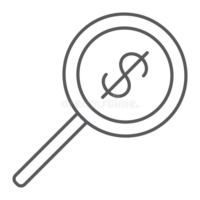 Λεπτό εικονίδιο γραμμών αναζήτησης χρημάτων, δολάριο και φακός, πιό magnifier σημάδι, διανυσματική γραφική παράσταση, ένα γραμμικ απεικόνιση αποθεμάτων
