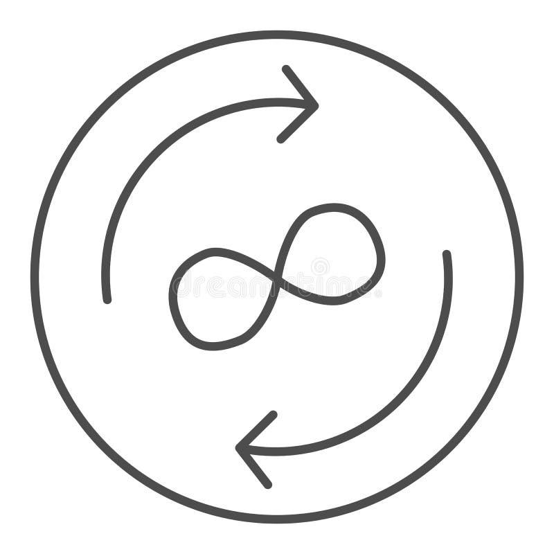 Λεπτό εικονίδιο γραμμών ανταλλαγής απείρου Βέλη και διανυσματική απεικόνιση συμβόλων απείρου που απομονώνεται στο λευκό Βέλη κύκλ ελεύθερη απεικόνιση δικαιώματος
