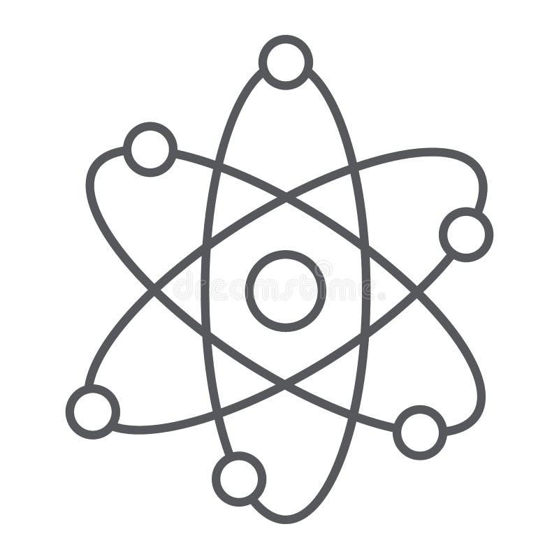 Λεπτό εικονίδιο γραμμών δομών ατόμων, επιστημονικός και πυρηνικός, σημάδι πυρήνων, διανυσματική γραφική παράσταση, ένα γραμμικό σ διανυσματική απεικόνιση