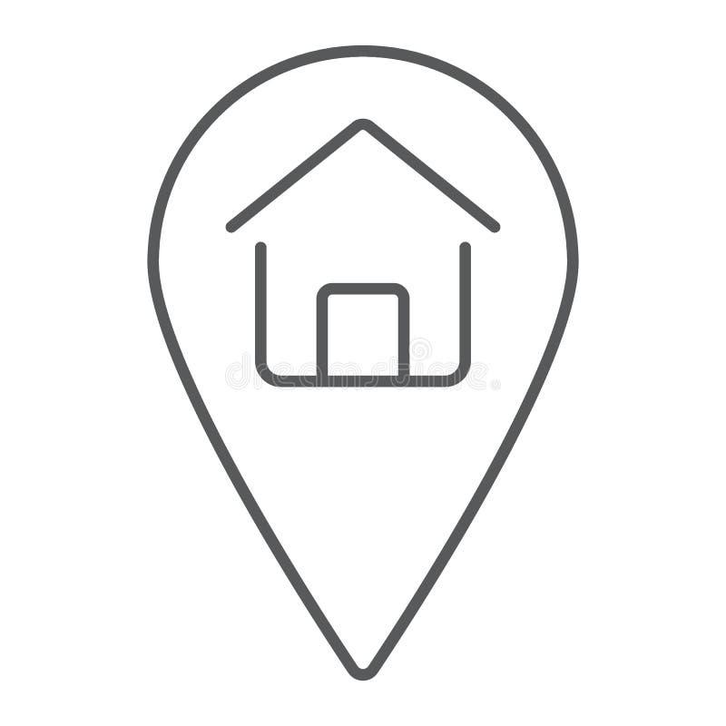 Λεπτό εικονίδιο γραμμών εγχώριας θέσης, ακίνητη περιουσία και σπίτι ελεύθερη απεικόνιση δικαιώματος